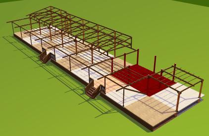 Anjuna 3d model for wooden floor decking and furnishment