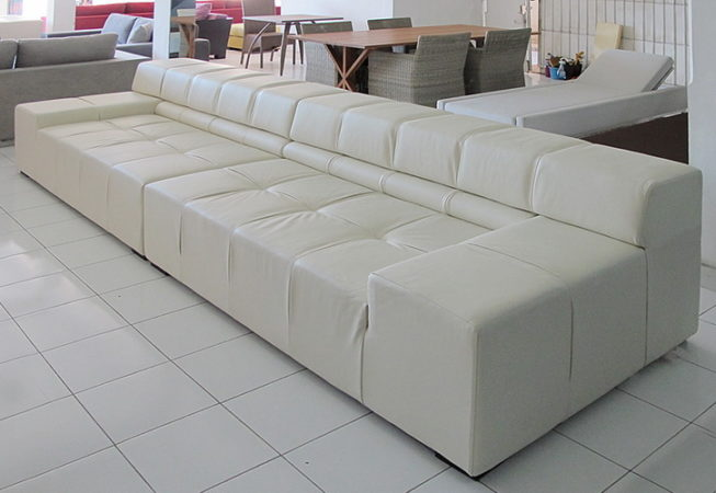 6 seat leather sofa 2 parts