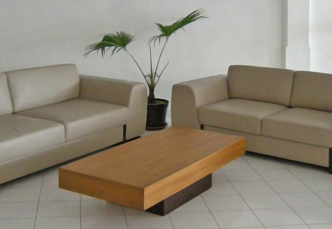 Modern leather buffalo sofa with massive teak wood coffee table