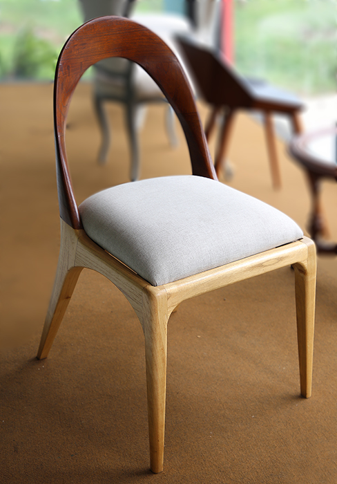 modern teak wood chair with cotton cushion