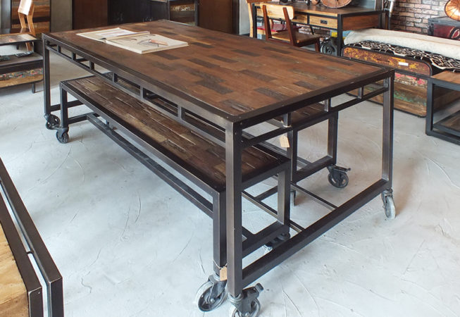 iron and teak wood dining table set with 2 benches on wheels