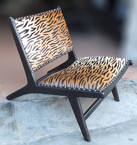wood leather tiger print armchair