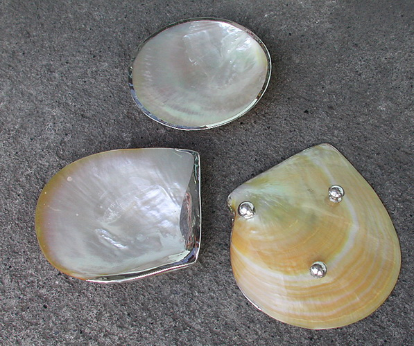 small shell silver dishes