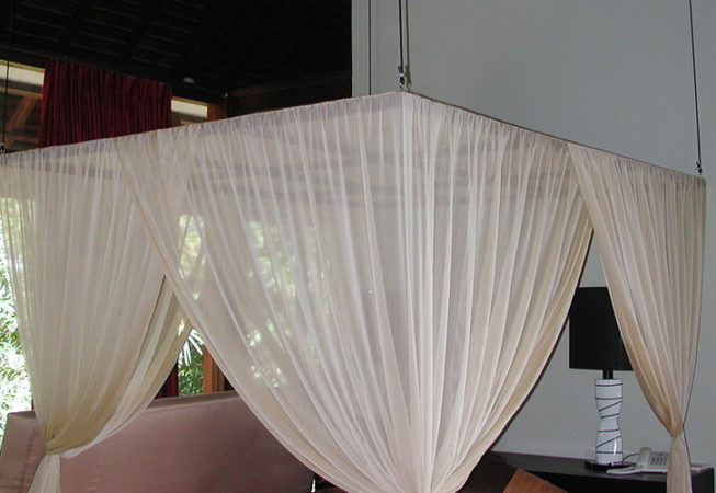 Square cotton mosquito net on wooden frame