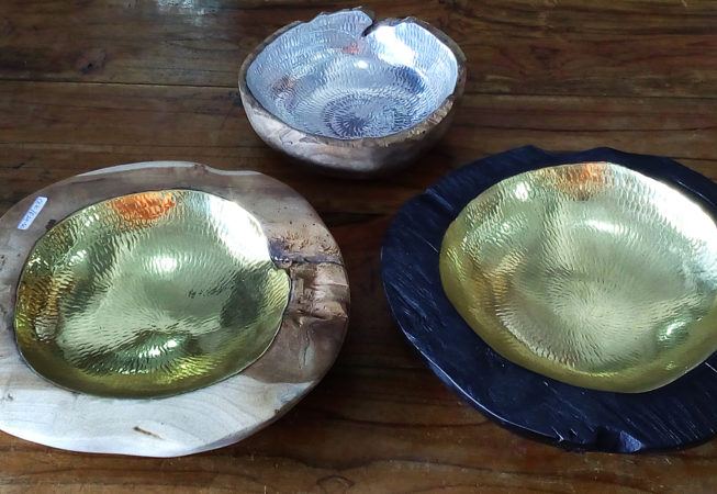 wood and copper bowls