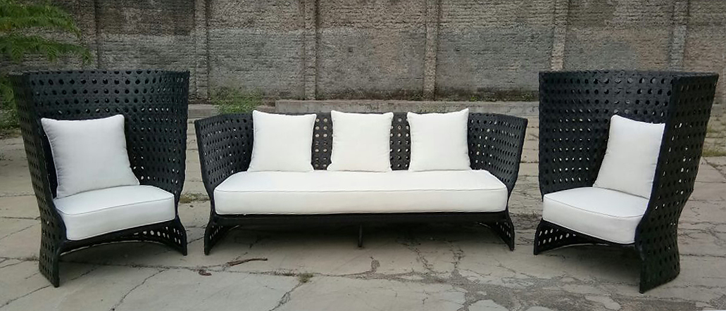 Comfortable sofa in Black and white made from plastic fiber with waterproof cushions. From Bali