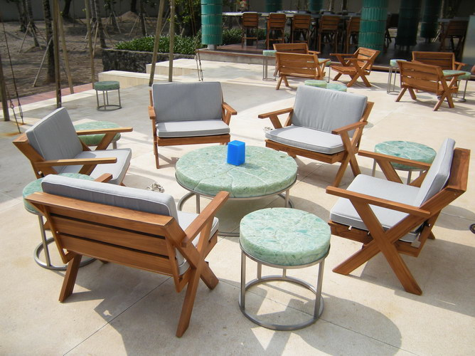 Teak set garden chair with stainless and glass coffee table