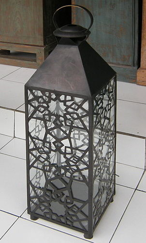 decorated lantern in bronze and glass