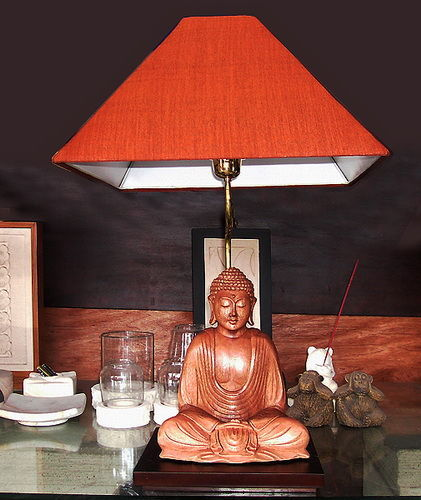 buddha bedside lamp with cotton lampshade