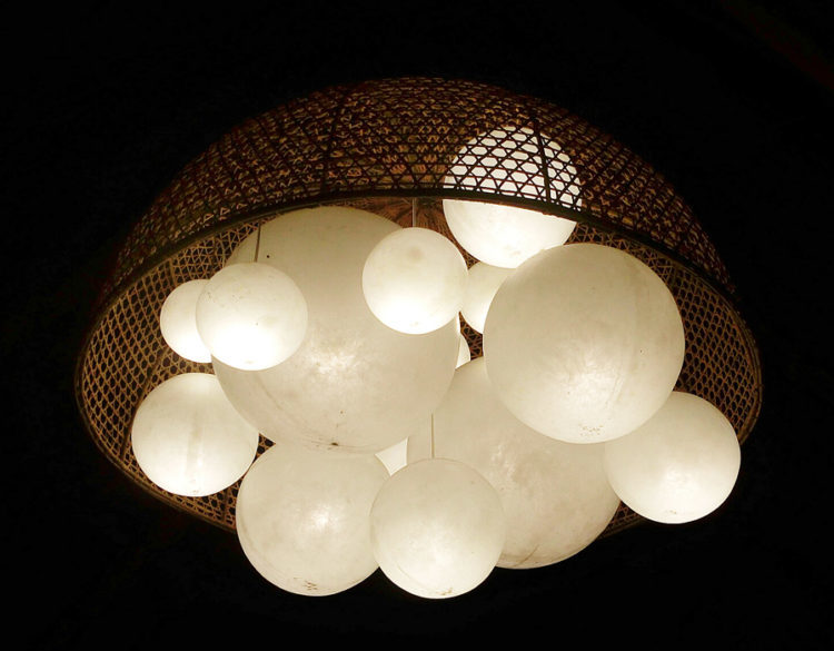 large rattan cup suspension lamp with resin balls