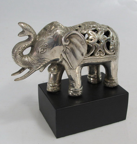 Brass Carved Silver Elephant on Stand