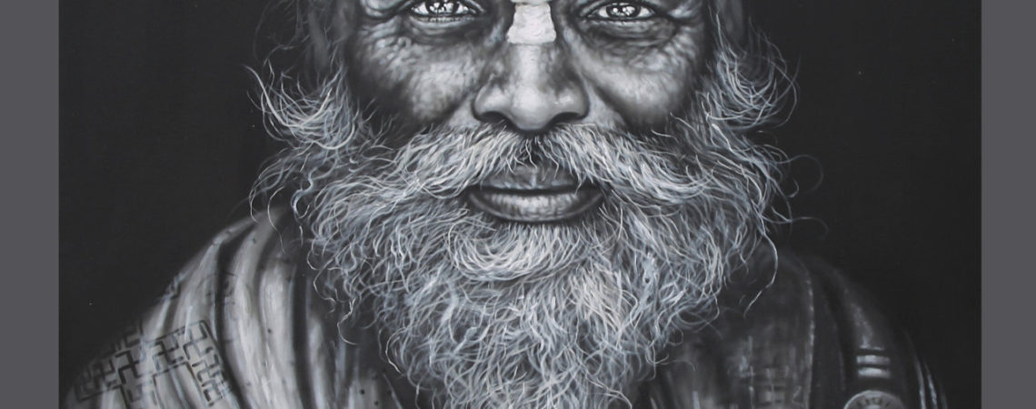 Portrait painting of old hindu priest