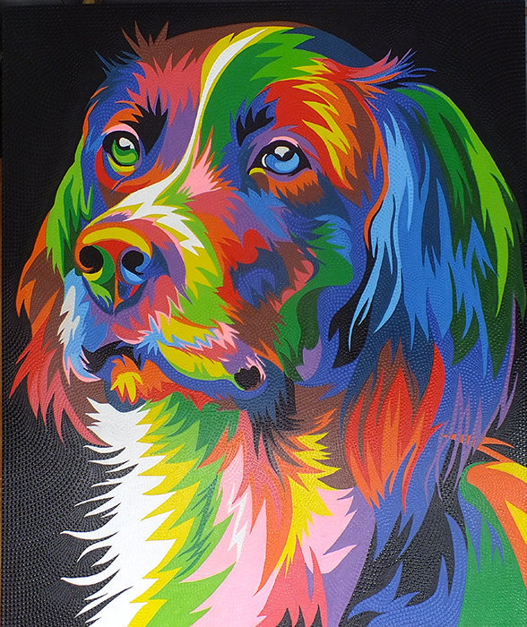 Portrait pop art painting of a dog