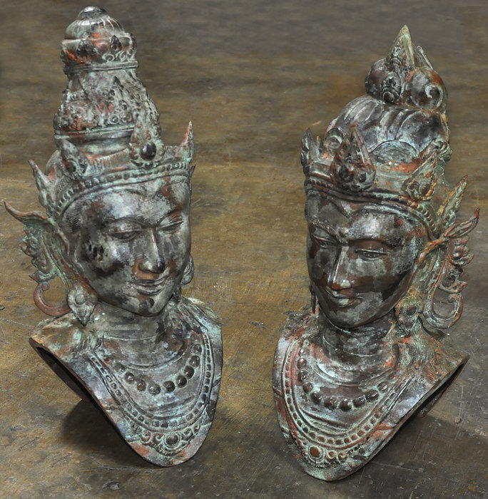 Set Brass divinity statues figures of head