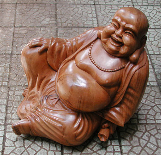 Chinese Laughing buddha from suar wood