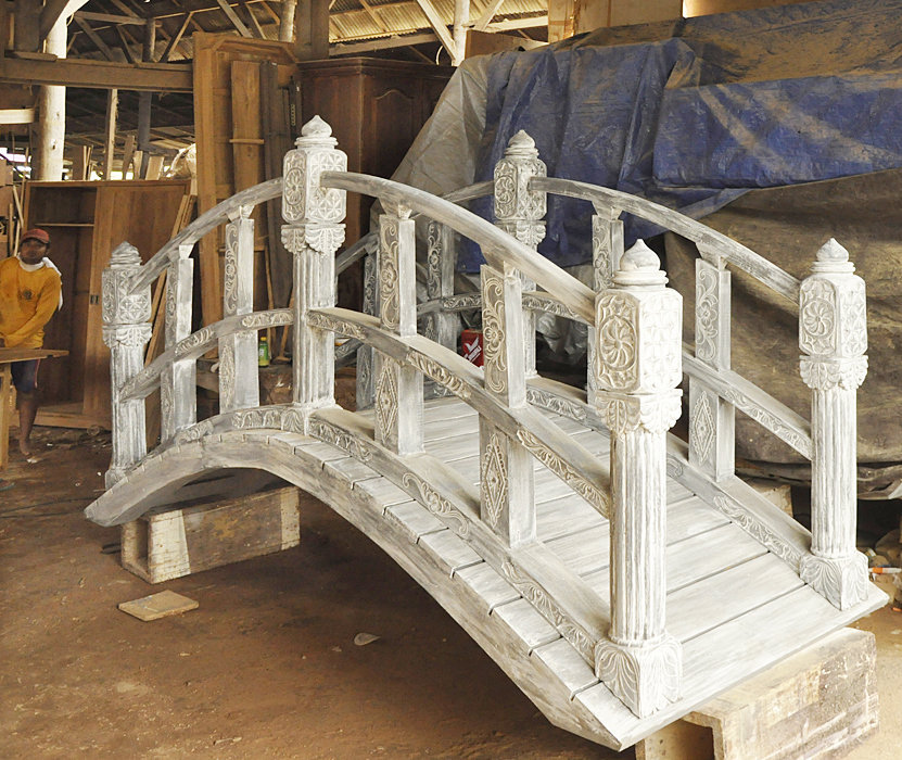 Chinese teak bridge exterior decoration bayu trading