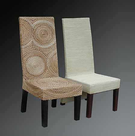 Mahogony and sea grass chair with decorative woven pattern