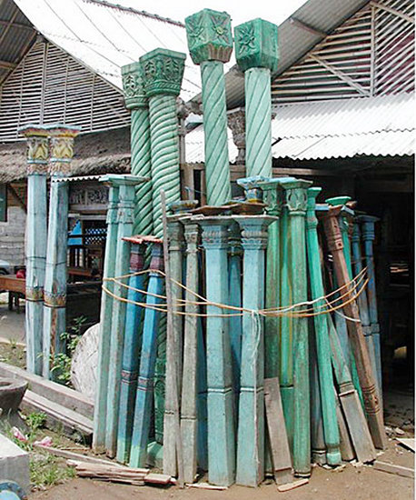 Painted teak post from old javanese wood house interior
