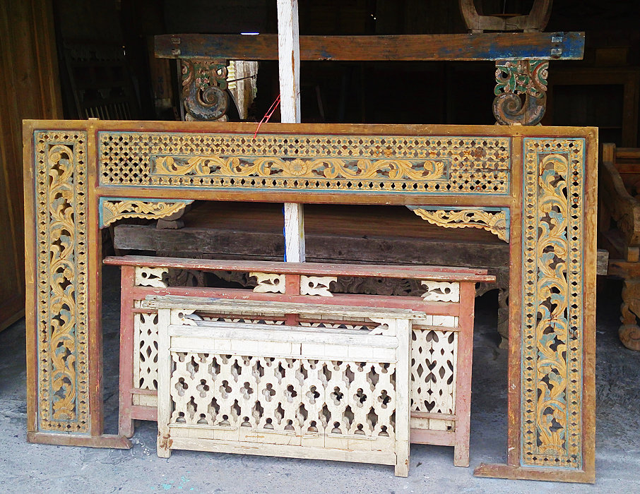 painted wall decoration from old javanese teak wood canopy bed and old railing