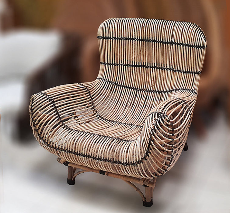 Handmade furniture from Bali Big rattan lounge armchair