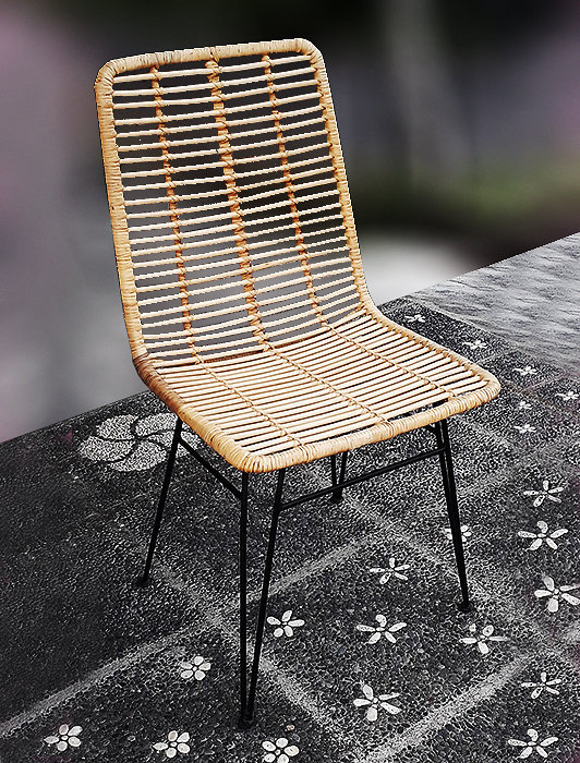 handmade Rattan woven with iron frame dining chair from Bali