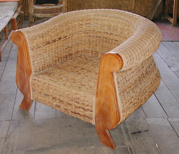 handmade armchair from bali made from teak and woven banana figer big lounge