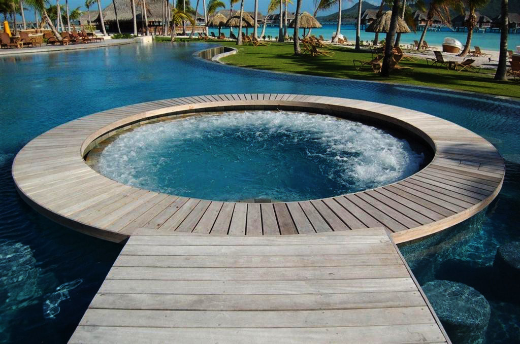 Teak decking round pool edge for exterior decor bayu trading from Bora Bora