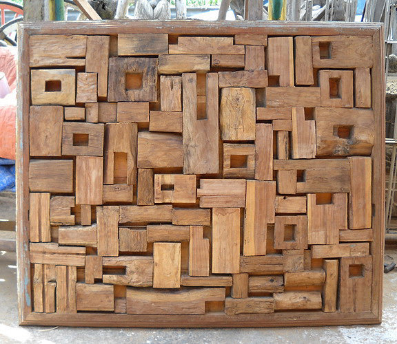 wall decoration composed of old teak wood with frame bayu international trading