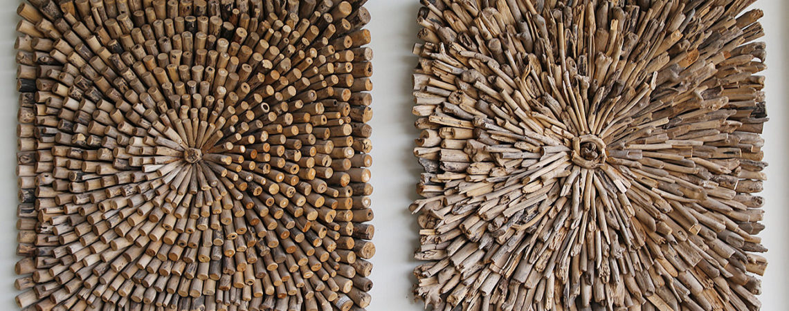 Wall Decoration composed of small floating wood pieces. Bayu International trading