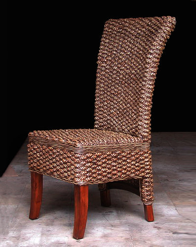 Handmade furniture from Bali Water lilyleaf woven and mahogany wood dining chair
