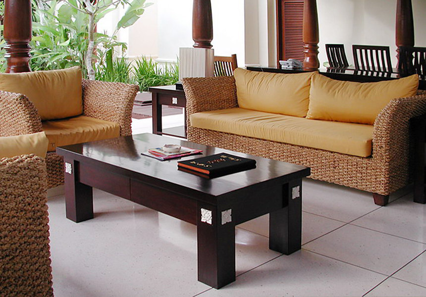 Bayutrading handmade furniture set. Woven Banana Fiver set arm chair soga and wood coffee table with cotton cushion