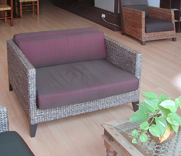 woven banana fiber sofa with set silk cushion handmade from Bali