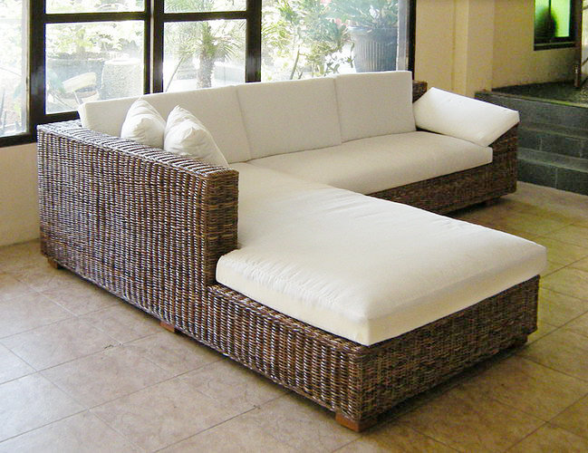 Woven kubu form L sofa with set cotton cushion handmade from Bali