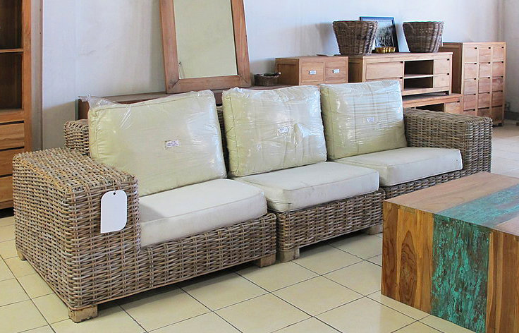 Woven Kubu set. 3 part sofa with cotton cushion. handmade from Bali Bayutrading