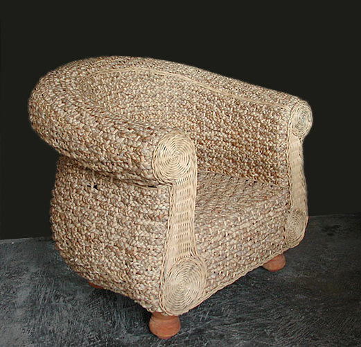 woven lilywater and rattan armchair. handmade from Bali
