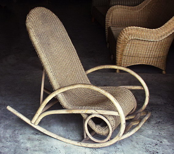 Woven Rattan Rocking chair handmade furniture from Bali