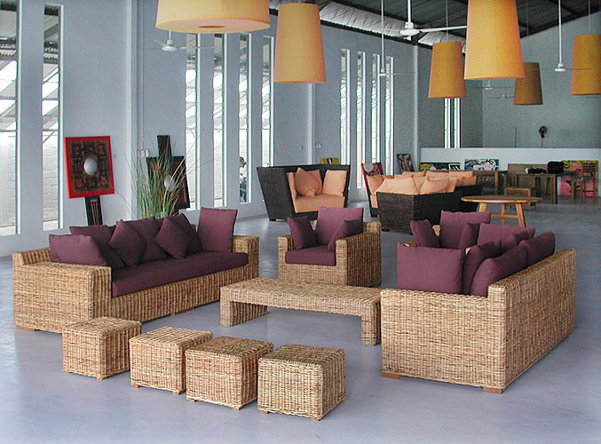 Handmade in Bali Woven rattan set. Armchair sofa puff and coffee table. Cotton cushions.