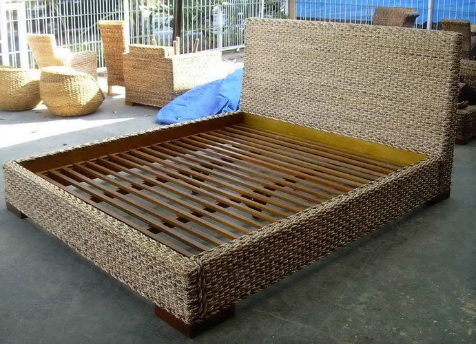 Woven sea grass and wood bed handmade bali