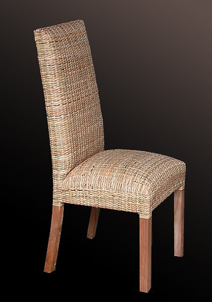 Teak and rattan chair with foam padded seat
