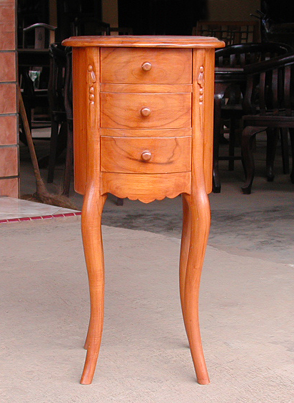 round teak bedside table with drawers honey finish decor style bayu trading international