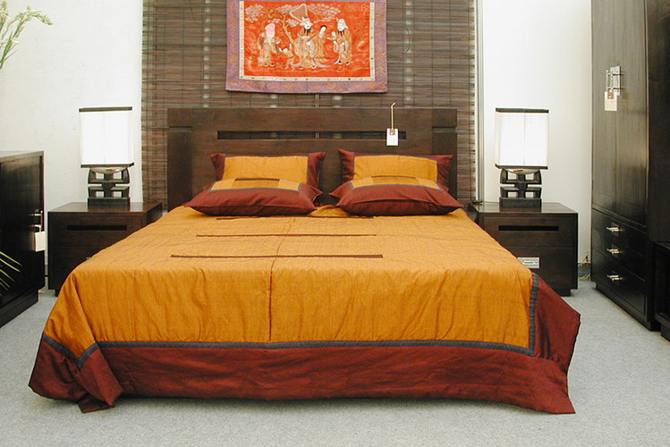 Teak bed with bed side and cotton satin cover colonial decoration style