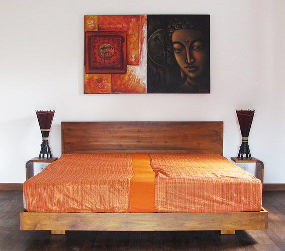 teak bed with bedside and cotton satin bed cover modern decoration style