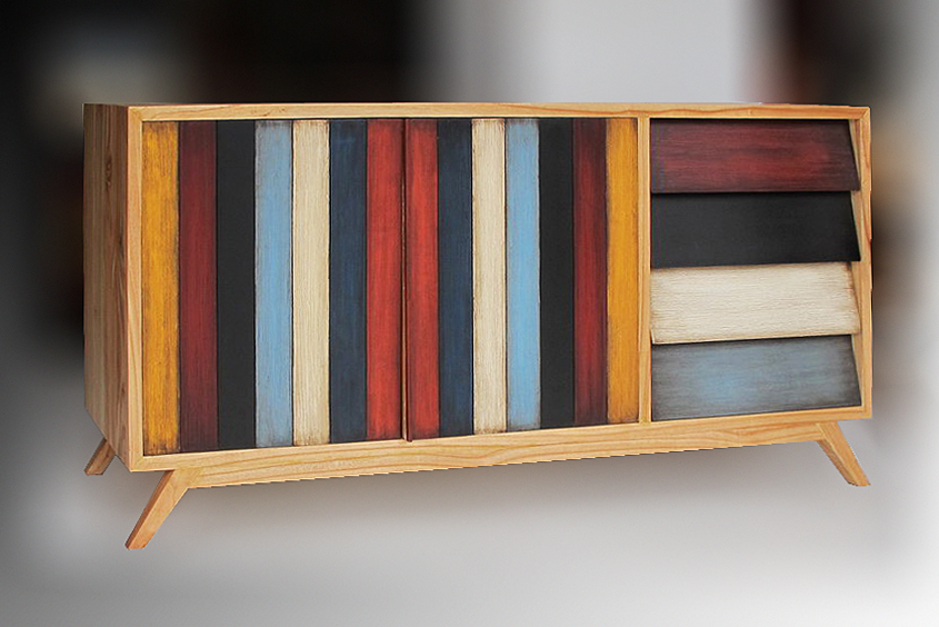 Teak TV cabinet with multicolored painted door modern decoration style