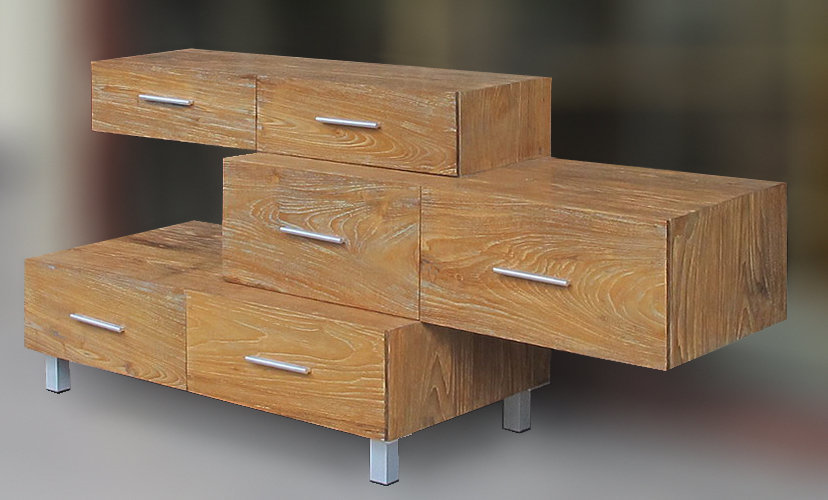 teak storage with 6 drawers minimalist style bayu international trading Bali