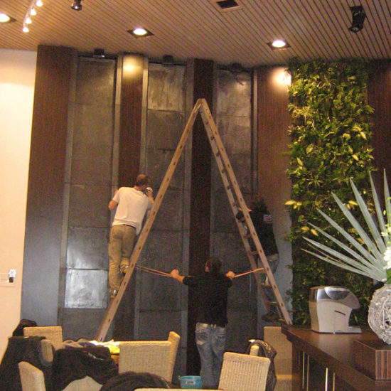 Installation of the wall fountains