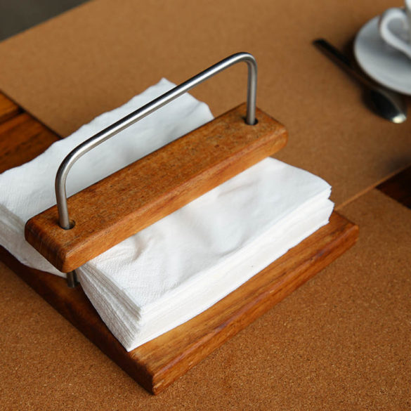 Hospitality supply for napkin holder made from wood
