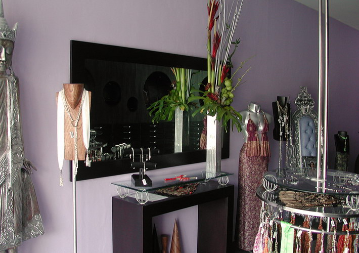 Mirror on the wall and small table display for jewelry