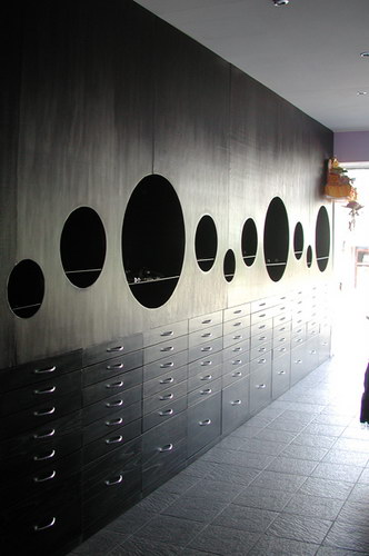 Wall covering furniture to display jewelry and drawers