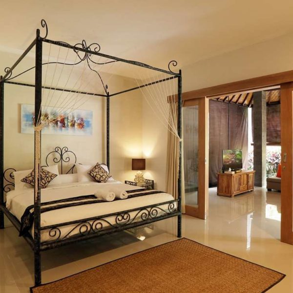 iron furniture bed with rug and sliding doors