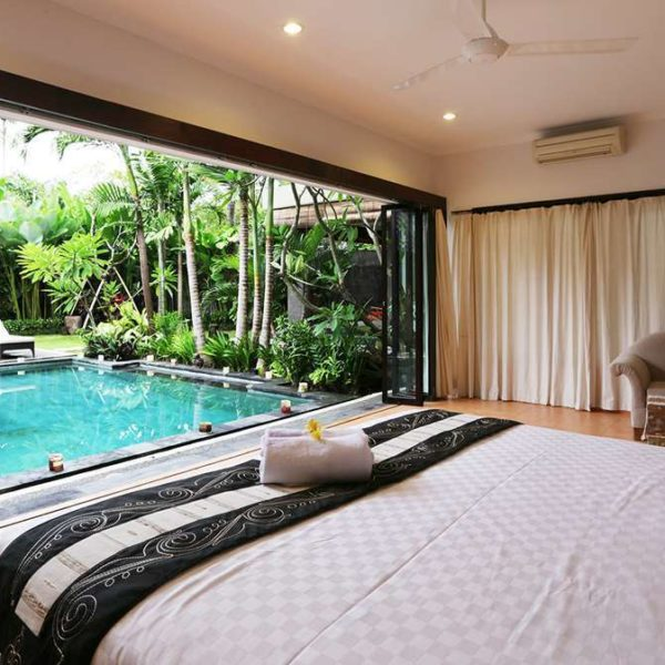 Villa bedroom furniture and outdoor view bayu trading